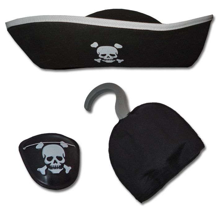 Pirate Costume Accessories Pirate Hat and Hook Pretend Play Set