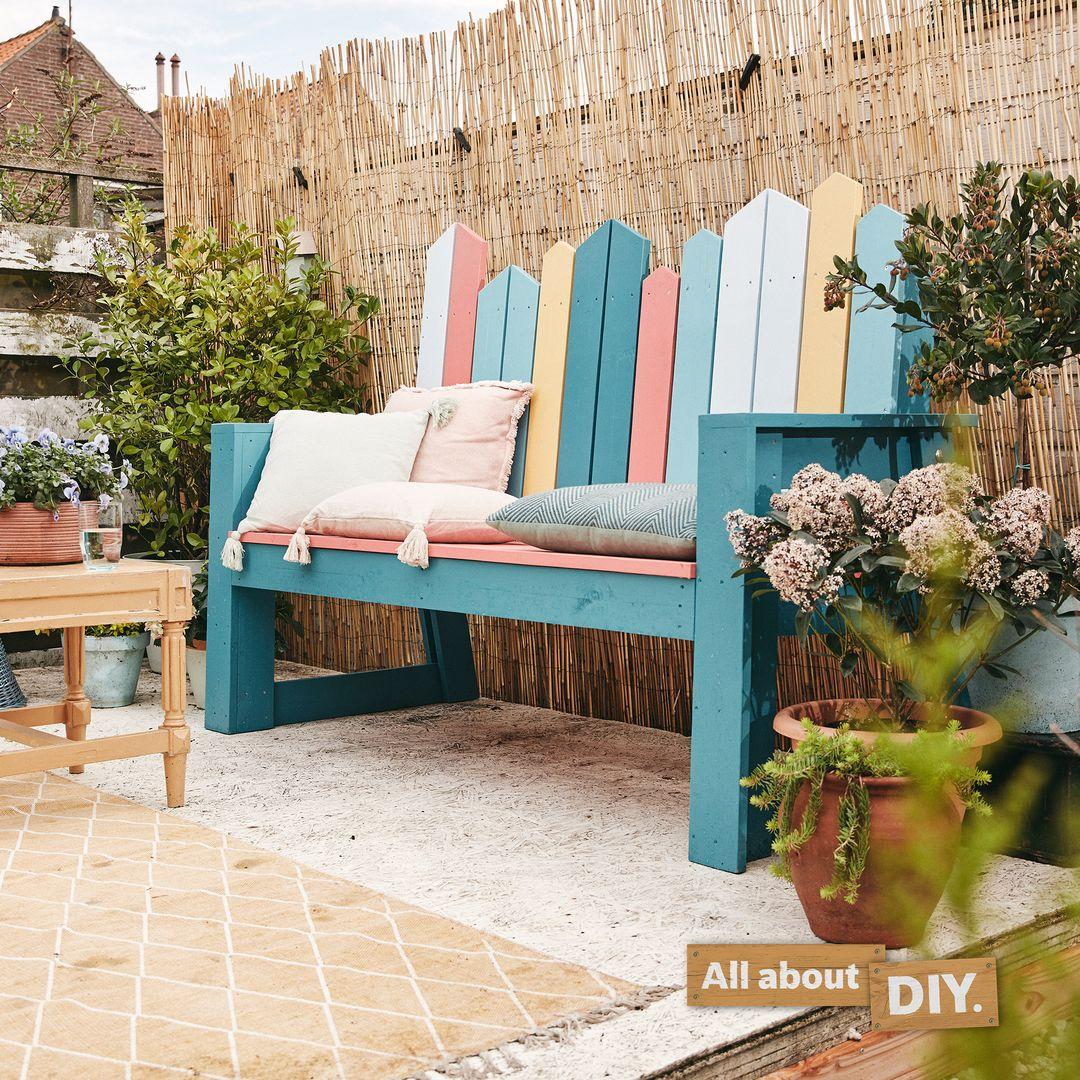 Photo of Bunte Gartenbank selber bauen | Bosch DIY