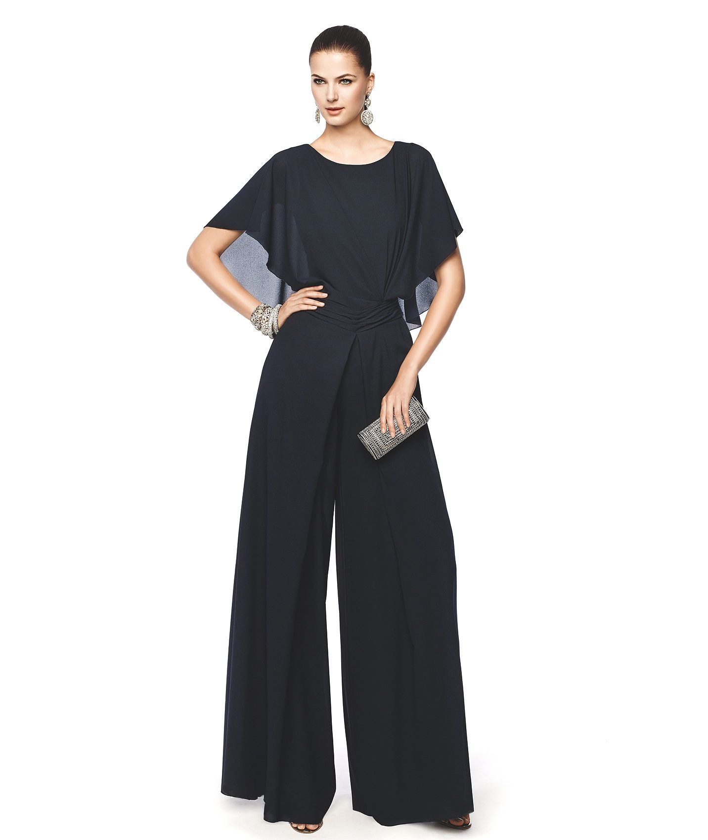 Combinado de fiesta negro con escote redondo y pantalón largo Modelo