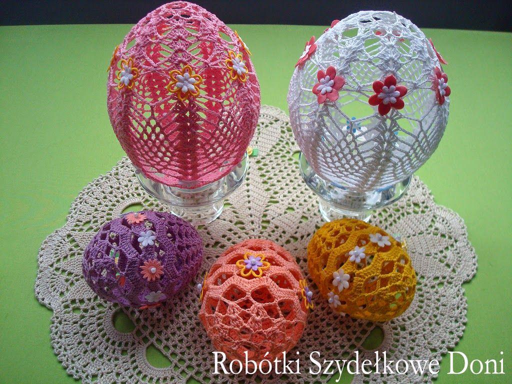 Robotki Szydelkowe Doni Serwetka Do Koszyczka I Azurowe Pisanki Easter Crafts Holiday Crochet Easter Crochet