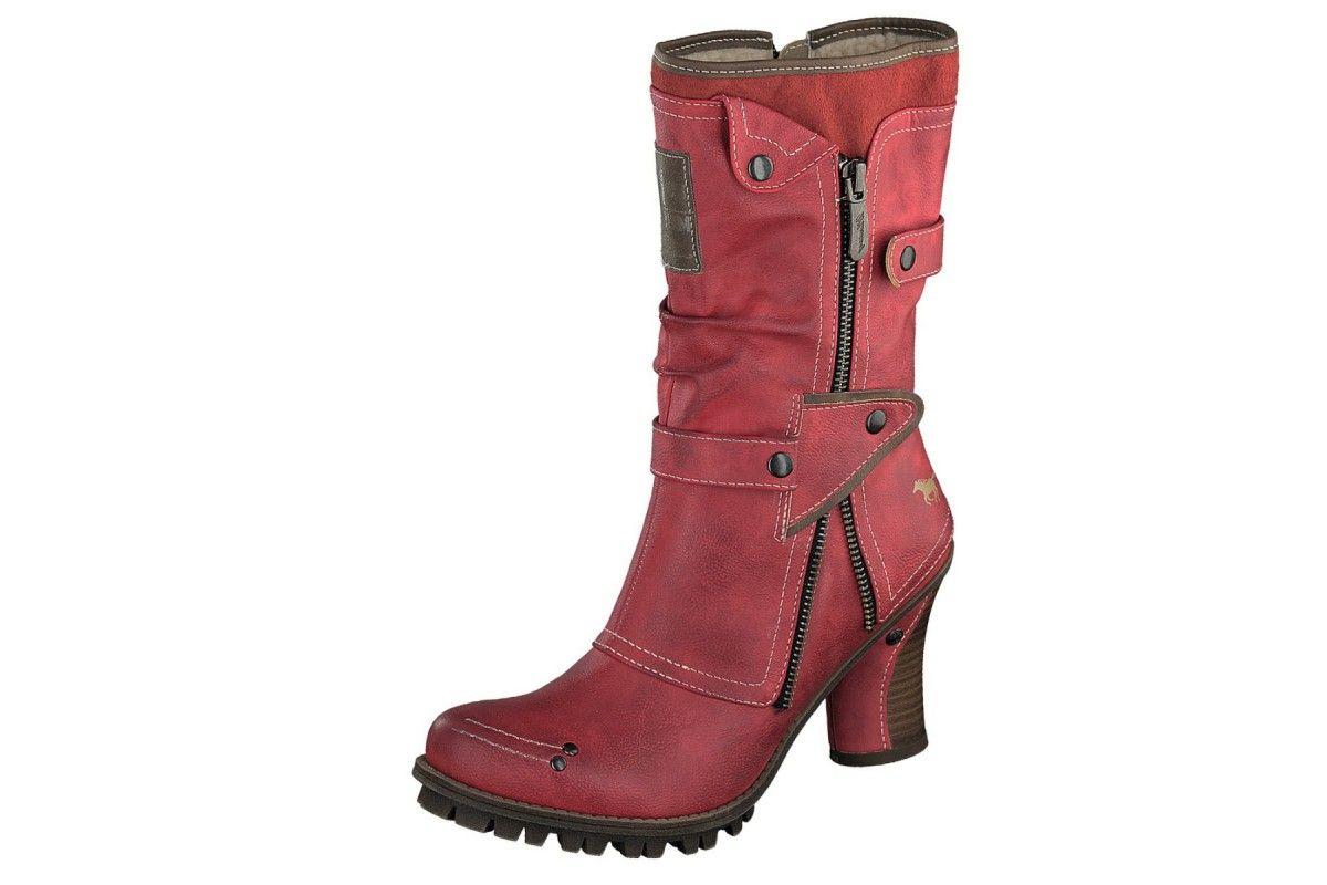 Mustang 1141-606 Red Women's High Heel Mid Calf Boots