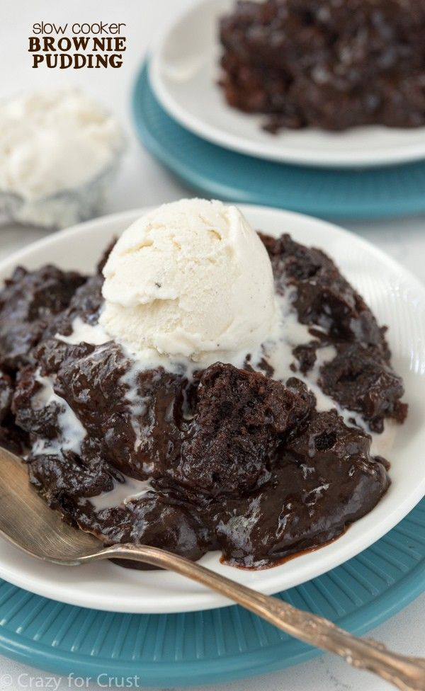This Slow Cooker Brownie Pudding couldn't be easier to make! Brownie mix and pudding mix get cooked in the crockpot for a gooey chocolatey dessert!