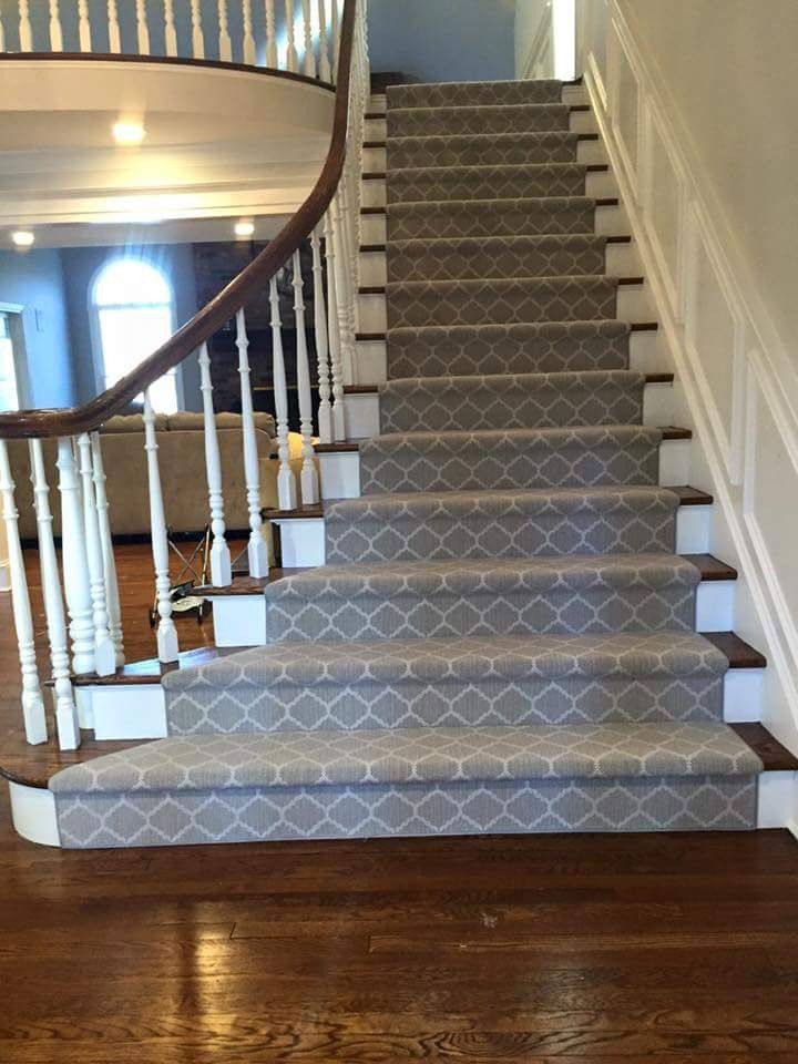 Great Rich Warm Wood Flooring That Looks Amazing Next To This Cool Grey Runner With White Geom Stair Runner Carpet Staircase Runner Stair Runners Carpet Modern