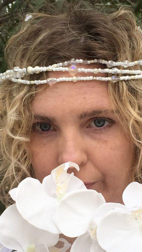 Beachy beaded white bridal Halo/wreath.  White by SunnybeachDesign