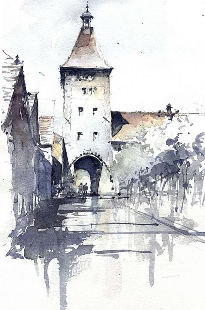 somewhere in Eu | Watercolor, Sketches and Architectural sketches
