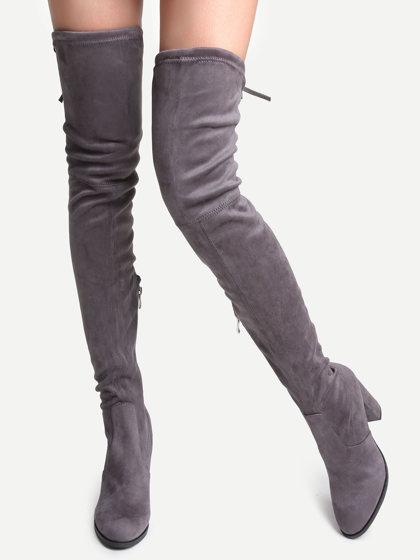 0d4d497b166 Grey Faux Suede Point Toe Tie Back Knee Boots