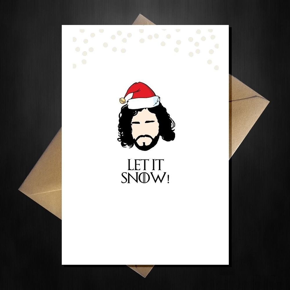 Jon snow game of thrones valentines day card id break my vows funny game of thrones christmas card let it snow jon in a santa xmas kristyandbryce Gallery