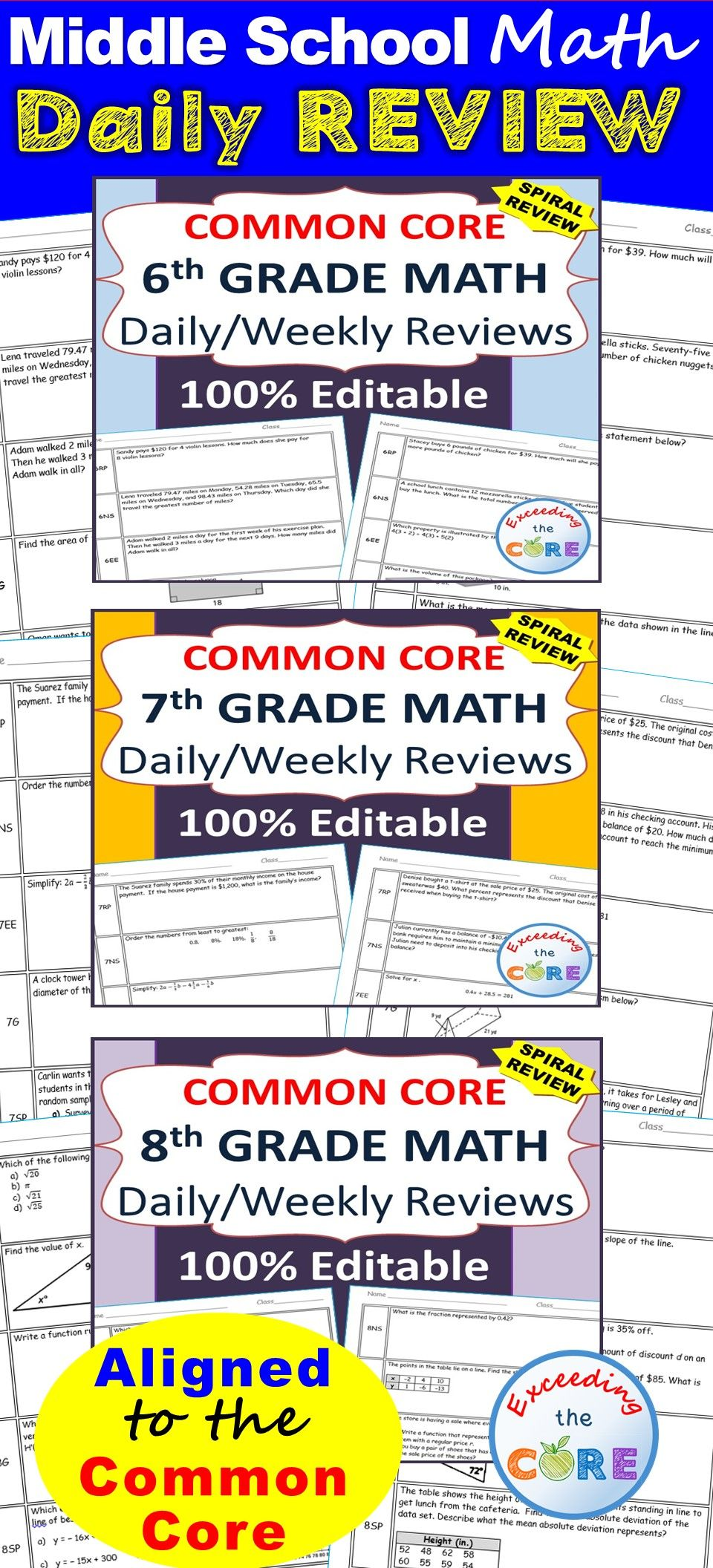 6th 7th 8th Grade Daily Weekly Spiral Math Review