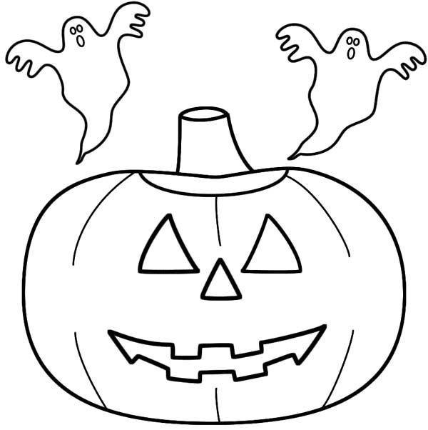 Jack O Lantern With Two Ghosts Coloring Page Coloring Pages Fall Coloring Pictures Cute Coloring Pages
