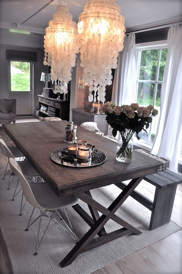 Rustic Modern Love Everything About This Dining Room Set Up Bench Shell Chairs Grey Walls Capiz Chandys Dining Table Modern Rustic Dining