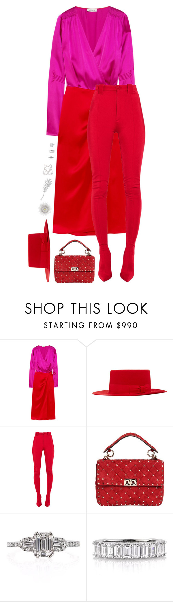 """""""Monochromatic look with red and pink dress"""" by hugovrcl ❤ liked on Polyvore featuring Attico, Yves Saint Laurent, Balenciaga, Valentino, Chanel and Mark Broumand"""