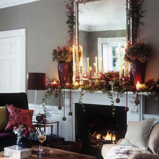 Create a festive fireplace | Traditional Christmas decorating ideas | Christmas decorating - housetohome.co.uk