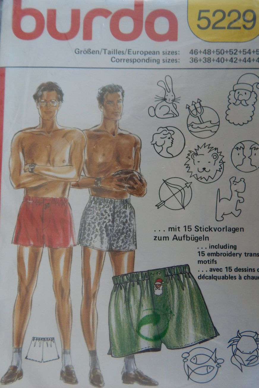 Mens boxer shorts with embroidery transfers sewing pattern