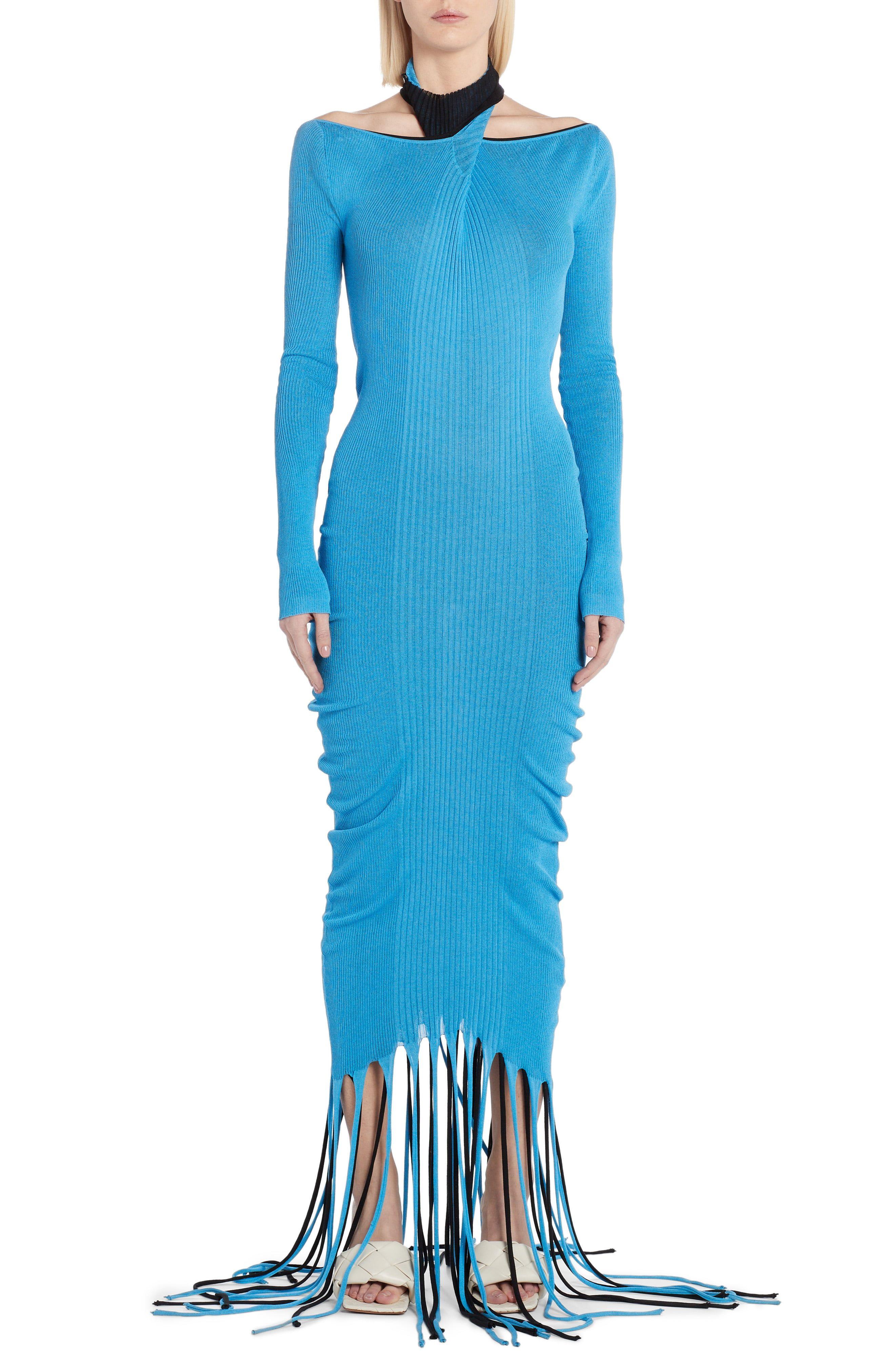 Bottega Veneta Long Sleeve Fringe Silk Blend Rib Sweater Dress Nordstrom Sweater Dress Ribbed Sweater Dress Dresses [ 4048 x 2640 Pixel ]
