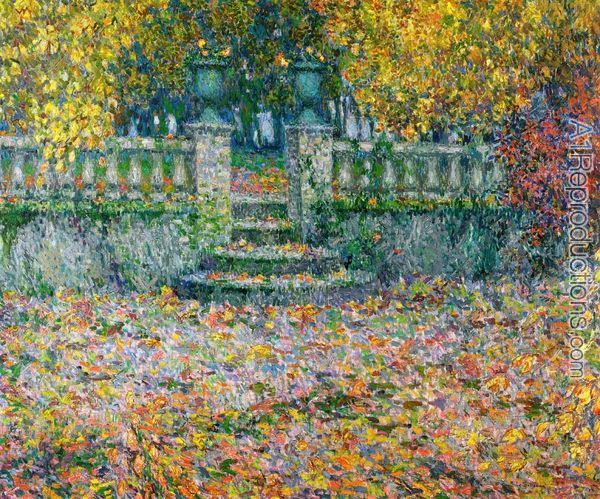 Henri Eugene Augustin Le Sidaner: The Terrace, Autumn