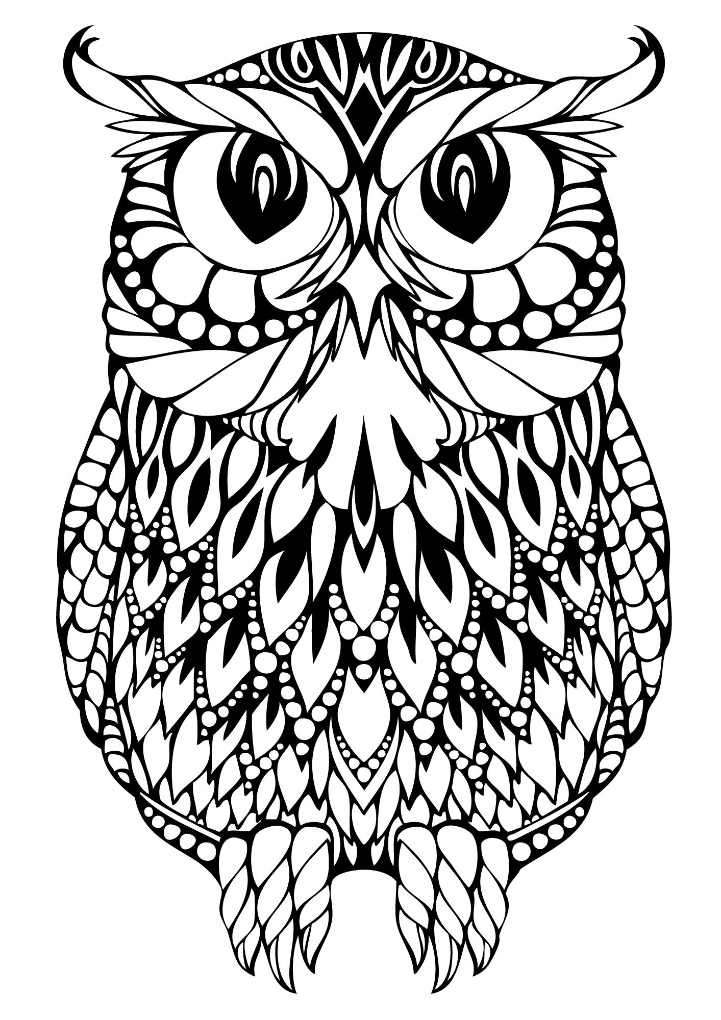 Hard Owl Coloring Pages
