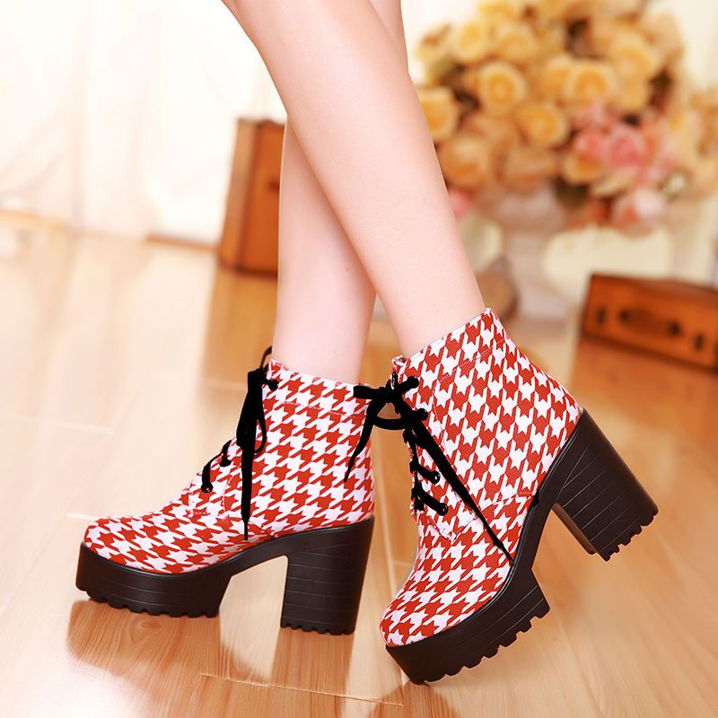 20ede282d7d5 Retro Houndstooth Print Women High Heels Lace Up Oxford British Shoes Ankle  Boot  new  FashionAnkle