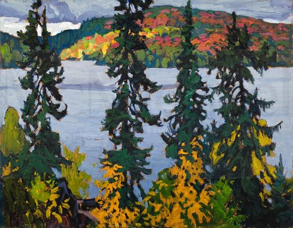 """""""Montreal River,"""" Lawren S. Harris, ca. 1920, oil on paperboard, 10 5/8 x 13 11/16"""", McMichael Canadian Art Collection."""