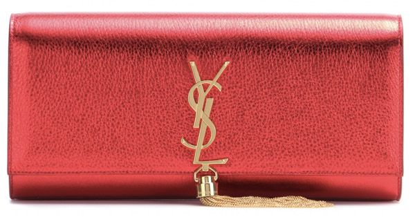 52ef45d67f Saint Laurent Classic Monogramme Metallic Leather Clutch. Red Clutch
