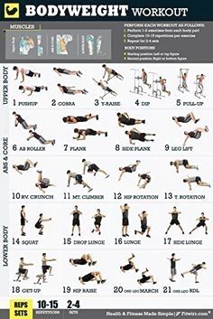 12 X 18 Bodyweight Exercise Poster Total Body Workout Personal Trainer Program For Men Home Gym Workouts Abs Chest Core