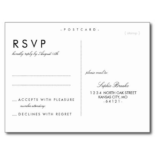 Simple chic wedding rsvp postcard template wedding for Rsvp template for event