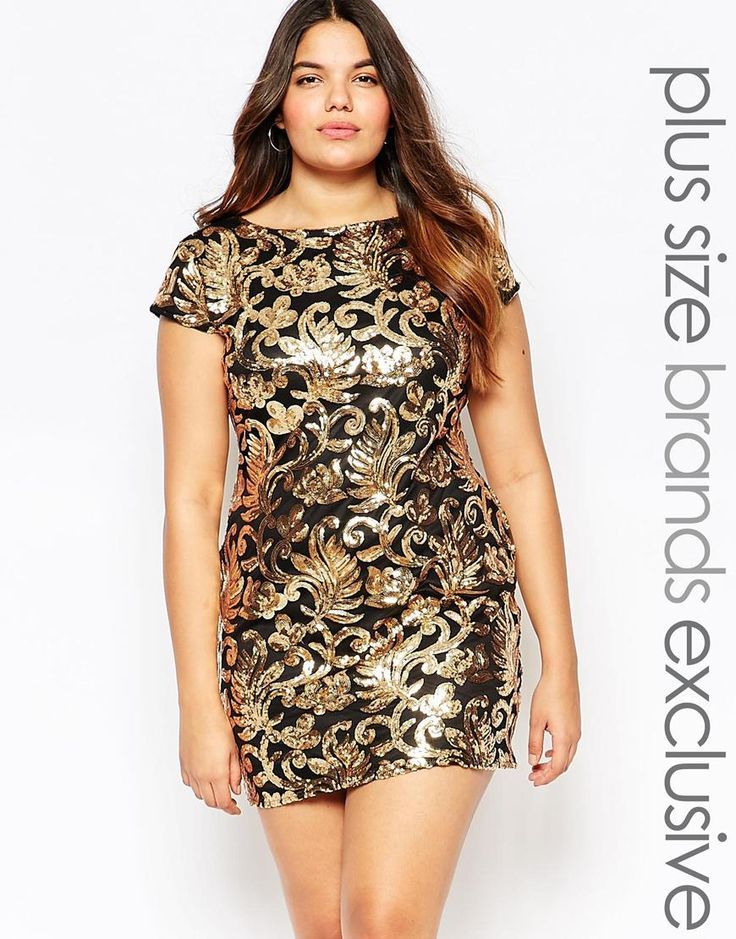 Club L Plus Baroque Sequin Embellished Shift Dress