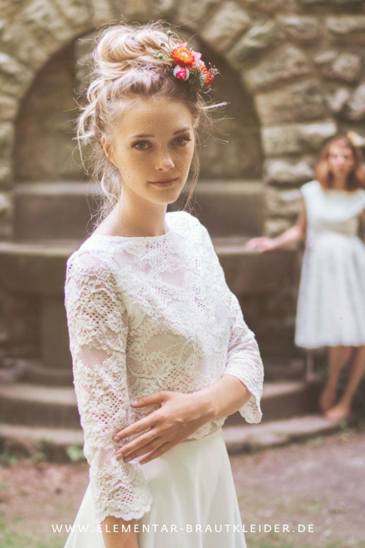 Moderne Boho Brautkleider aus Baumwolle mit Spitze, weich ...