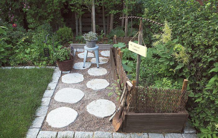 Kasvimaa on viljelylaatikoissa. Sorapäällys on somistettu graniittisilla askelkivillä ja rajattu nurmikosta nupukivillä. Korissa tuolin päällä kasvaa kirjavalehtistä salviaa, toisessa korissa on sitruunamelissaa.