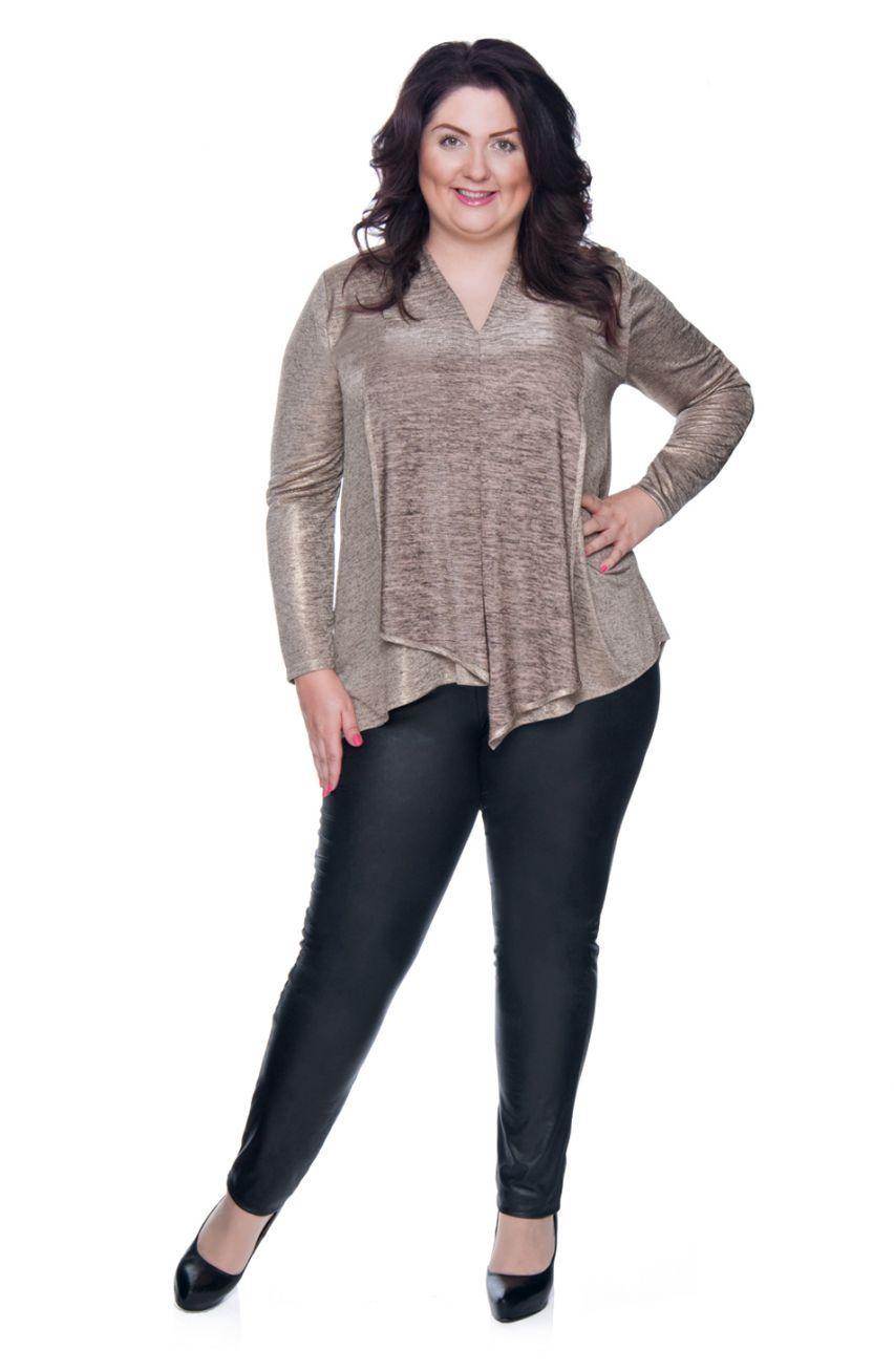 Oryginalna Zlota Bluzka Z Przedluzonym Tylem Modne Duze Rozmiary Fashion Long Sleeve Blouse Women S Top