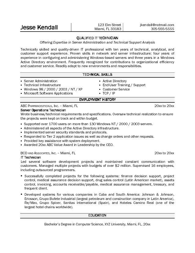 example information technology technician resume sample page not - technology resume objective