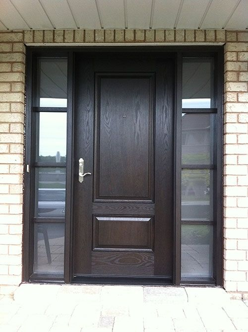 Wood Grain Solid Door With Frosted Glass Side Lites Installed By
