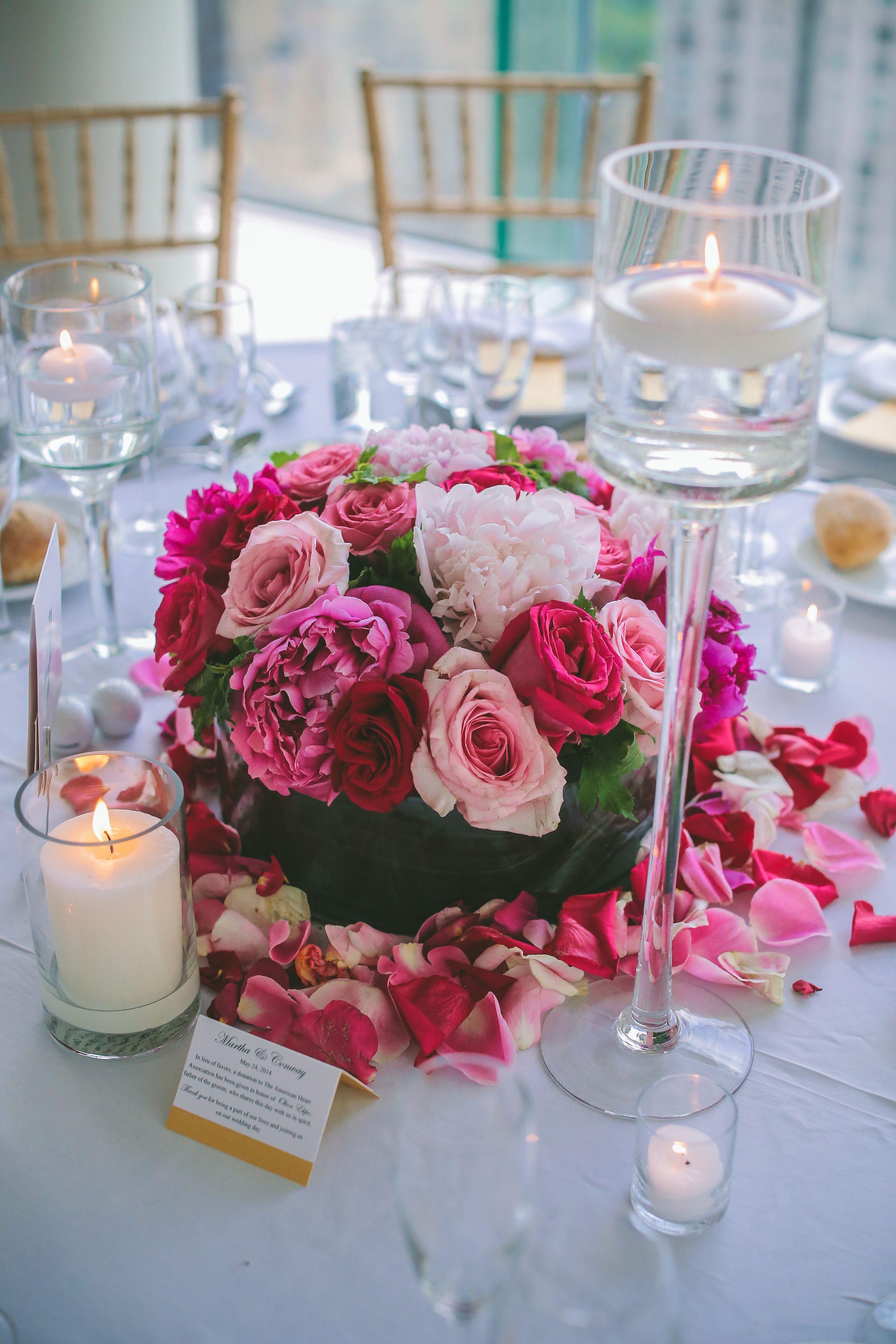 Romantic Candles And Pink Flower Arrangement Centerpiece Flowers