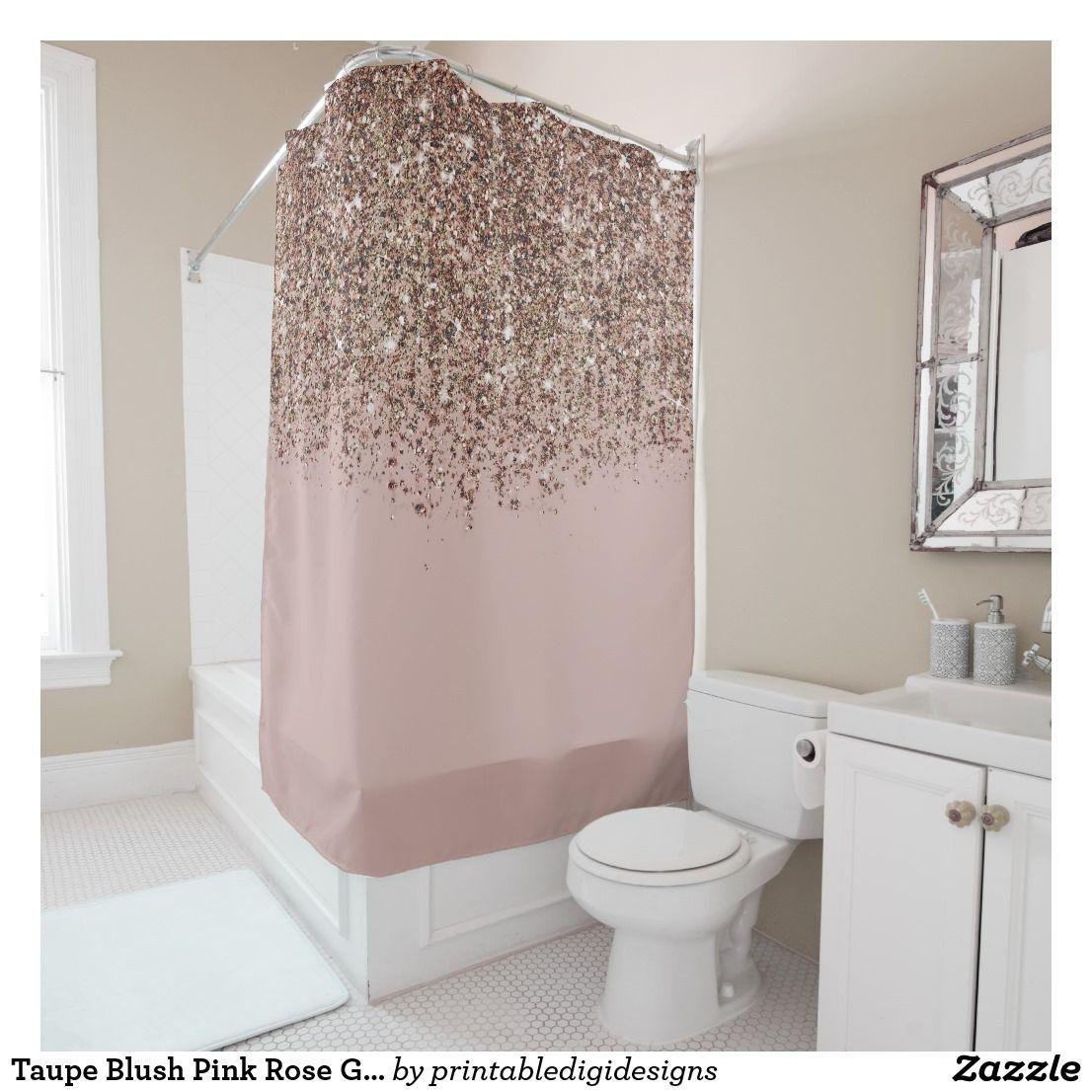 Taupe Blush Pink Rose Gold Bronze Glitter Glam Shower Curtain Zazzle Com Pink Shower Curtains Pink Bathroom Decor Glam Bedroom Decor