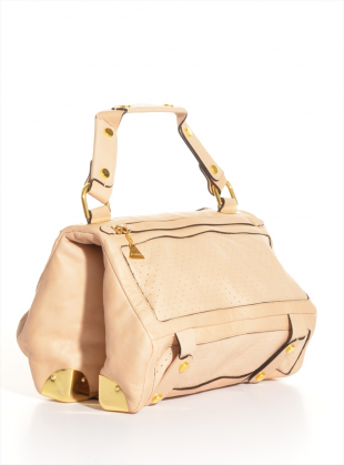 Nude Perforated Leather Duo Satchel by Golden Lane / Bags