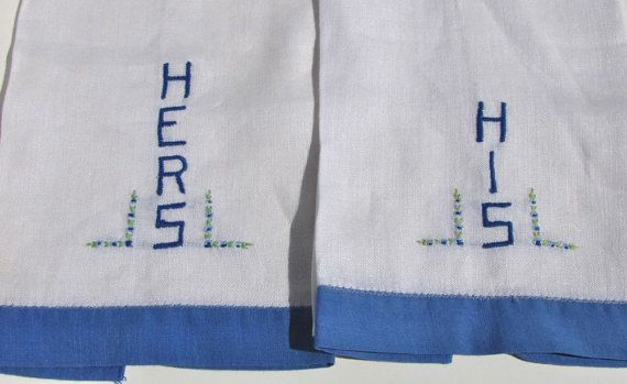 His and Hers Hand Embroidered Towels Vintage Embroidered by gizmos