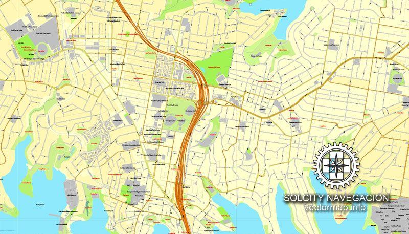 pdf map sydney australia printable vector street 4 parts city plan map full