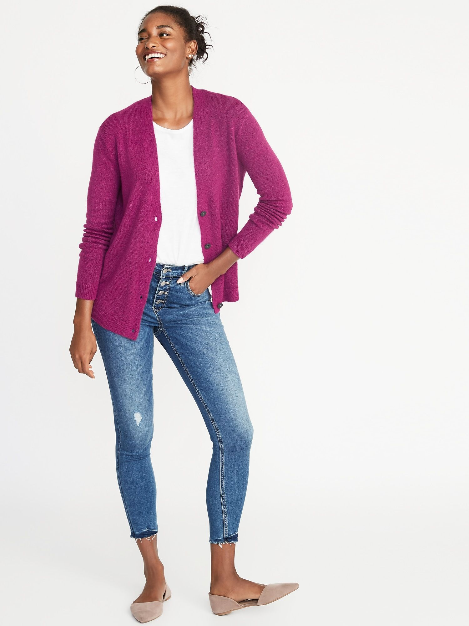 333f16e7395843 Slouchy Soft-Brushed V-Neck Cardi for Women | April Love List 2019 ...