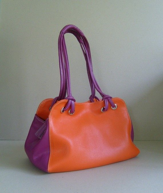 Items Similar To Leather Handbag Shoulder Bag Purse Two Tone Pebble Candy Tftateam On Etsy