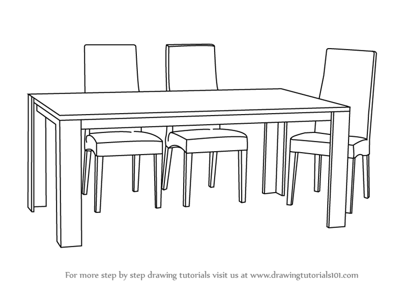 Step By Step How To Draw Dining Table With Chairs Drawingtutorials101 Com Dining Table Chairs Dinner Tables Furniture Dining Room Chair Cushions