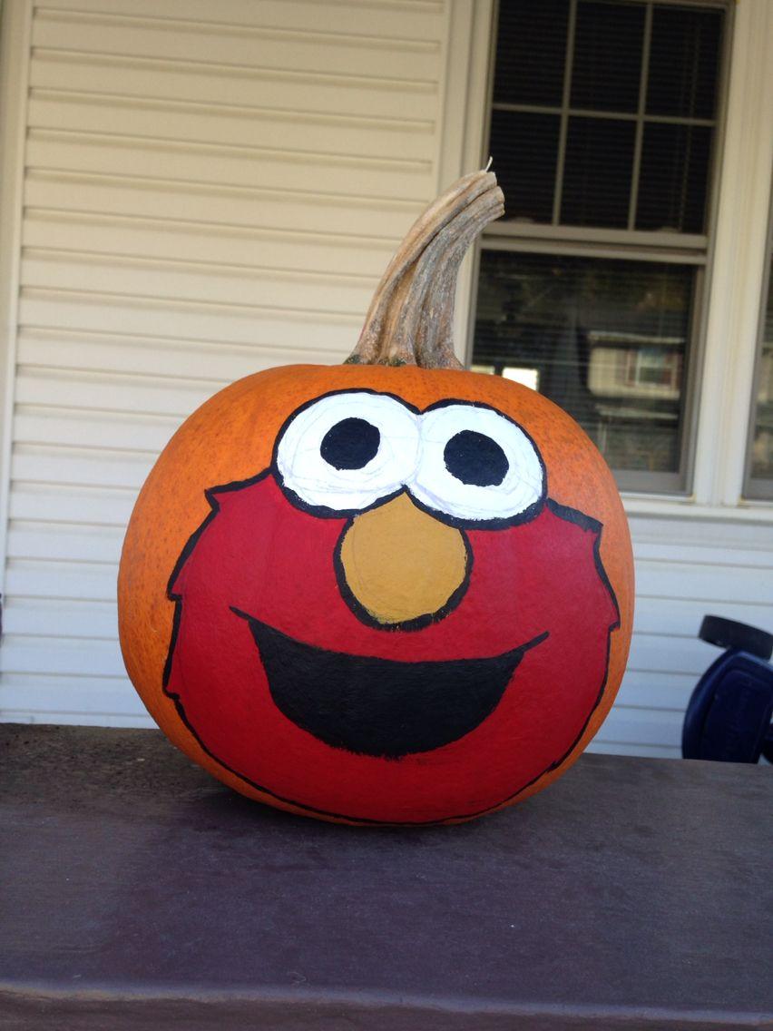 Painted elmo pumpkin for Hunter!