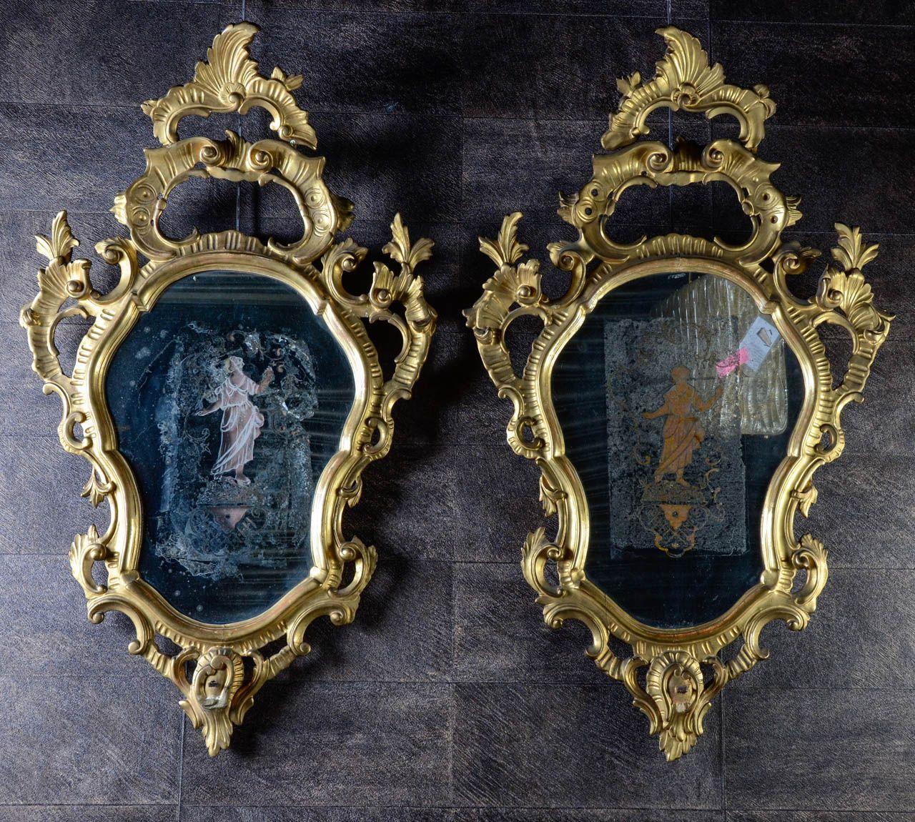18th Century Venetian Giltwood Girandoles | From a unique collection of antique and modern girandoles at https://www.1stdibs.com/furniture/mirrors/girandoles/
