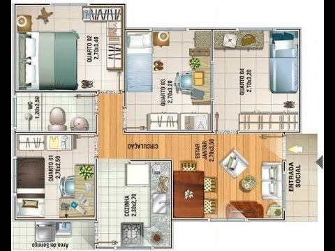 Plano de casa econ mica 60 metros cuadrados youtube for Casas modernas 80 metros cuadrados