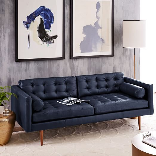 Monroe Mid Century Leather Sofa West Elm