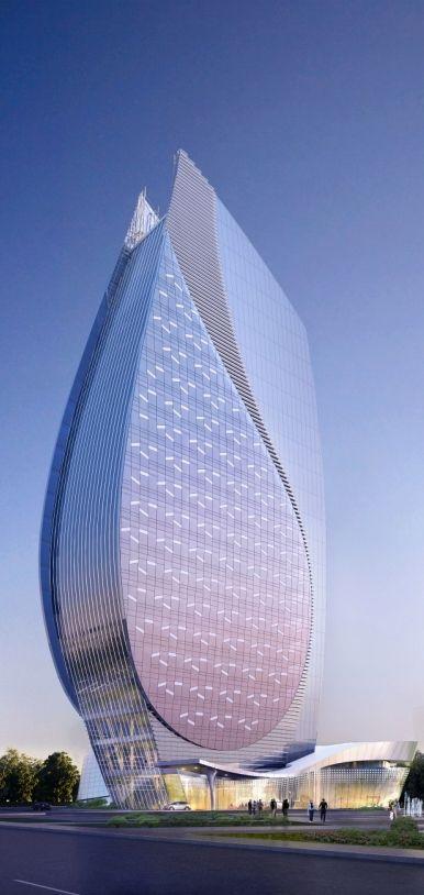 Azersu Office Tower, Baku, Azerbaijan designed by Heerim Architects and Planners :: 22 floors, height 124m [Futuristic Architecture: http://futuristicnews.com/category/future-architecture/] ☮k☮ #architecture