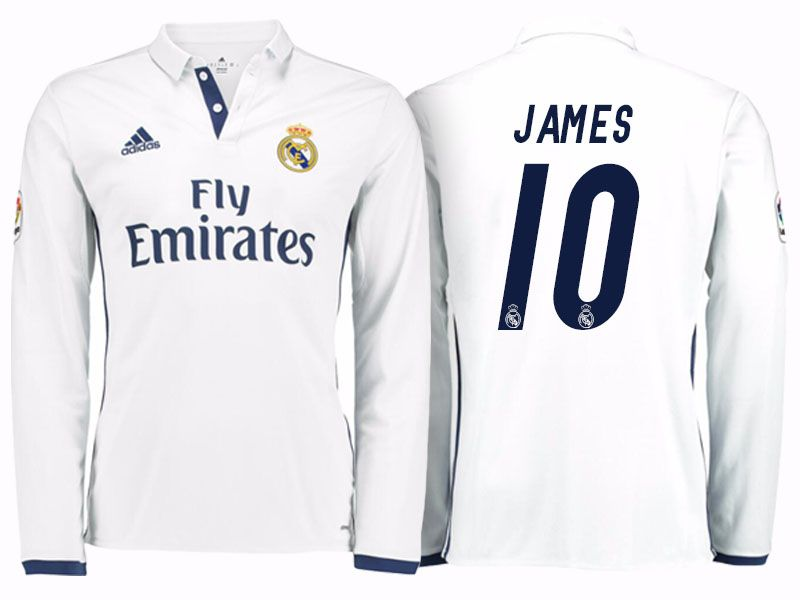 b274472d9fe Real Madrid  10 James Rodriguez 2016-17 Home Long Jersey