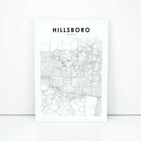 Hillsboro Map Print, Oregon OR USA Map Art Poster, Portland City ...