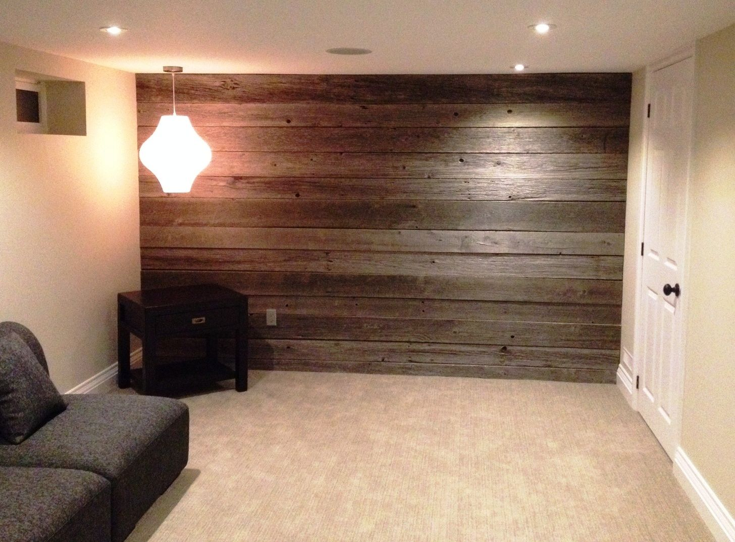 Superbe Barn Wood Basement Walls | Board This Small Basement Wall Was Turned Into A  Feature Wall