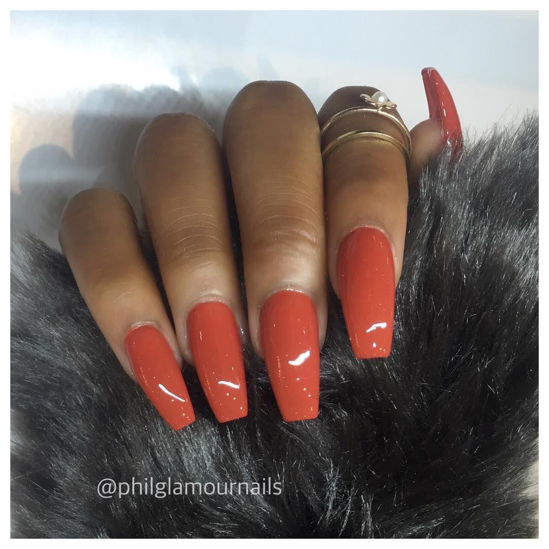 #simple #glam #nailtrend … | Fall acrylic nails, Orange ...
