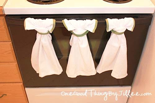 How To Make A Simple Hanging Dish Towel One Good Thing By Jillee Dish Towels Sewing Projects Crafts