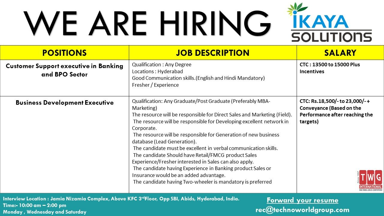 WE ARE HIRING for IKAYA POSITIONS
